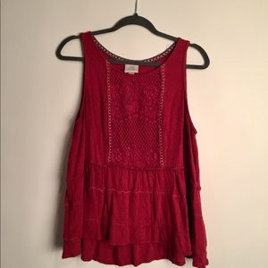 Deep burgundy red lace top with ruffles EUC xl